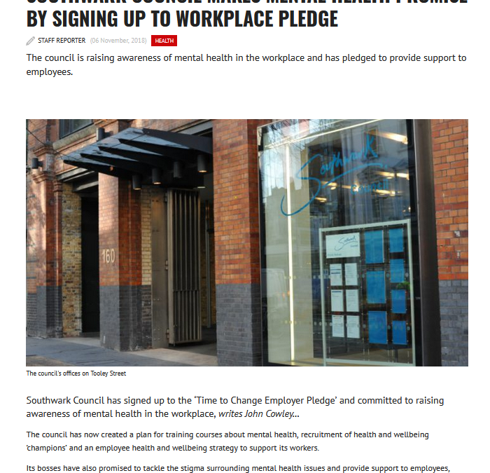 Southwark News Online: Southwark Council makes mental health promise by signing up to workplace pledge
