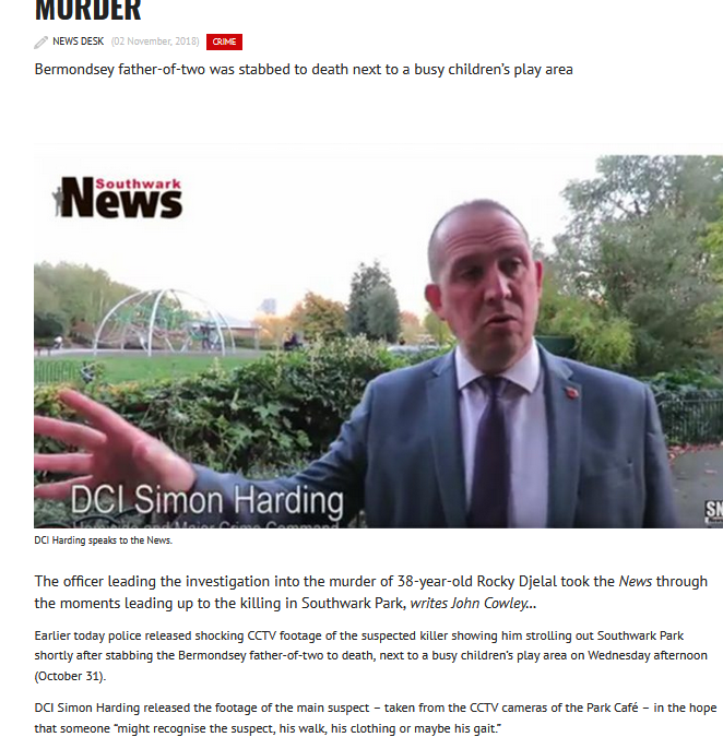 Southwark News Online: Video DCI Harding takes the News through the moments leading up to Rocky Djelal's murder