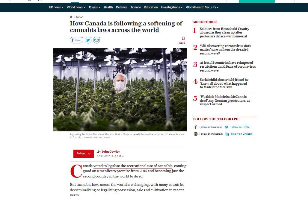Daily Telegraph Online: How Canada is following a softening of cannabis laws across the world