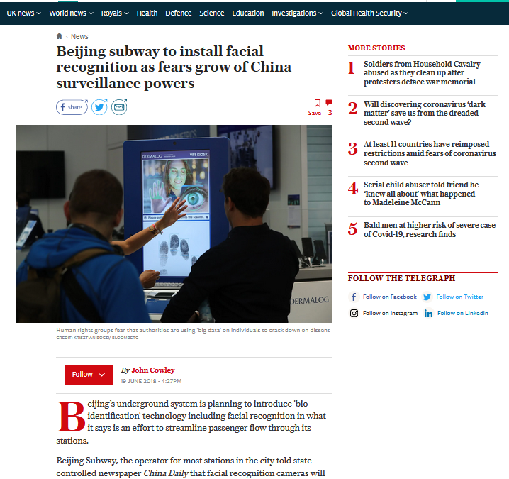 Daily Telegraph Online: Beijing Subway to install facial recognition as fears grow of China Surveillance Powers